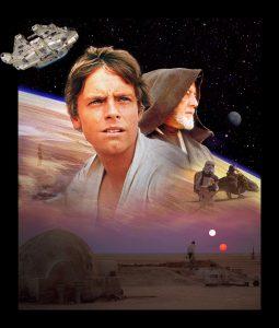 George Lucas a eu recours à deux Opening Images. L'une introduisant l'univers de Star Wars, l'autre consacré à Luke.